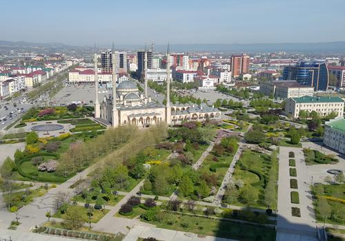 Панорама г. Грозный, вид на мечеть «Сердце Чечни»